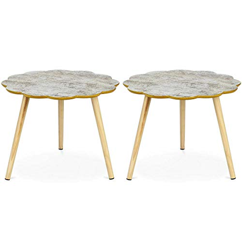 Flower Shaped Coffee Table Sofa Side End Accent Table Living Room Home Set of 2