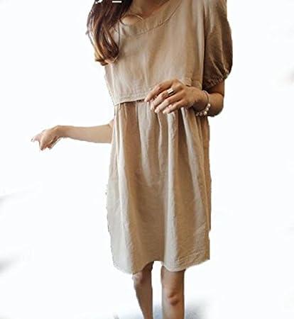 DESY Falda de verano, algodón y lino confort material, falda de mujeres embarazadas, vestido de verano: Amazon.es: Deportes y aire libre