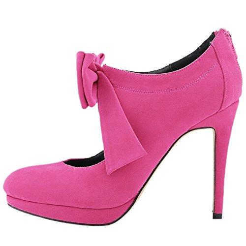 HooH Damen Stiefeletten Reißverschluss Flanell Plattform High Heel Kurze Stiefel Rosarot