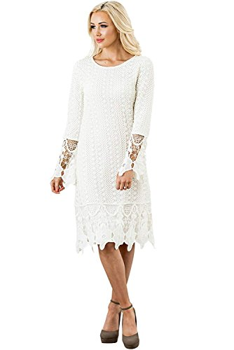 (Mikarose Lydia Modest Boho Dress in Cream w/Lace Overlay - XL, Modest Bridesmaid Dress in Ivory or Off-White)