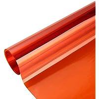 Window Decorative Film Sun Blocking Anti UV Transparent Solar Window Tint for Home Christmas Party Decoration, Orange…