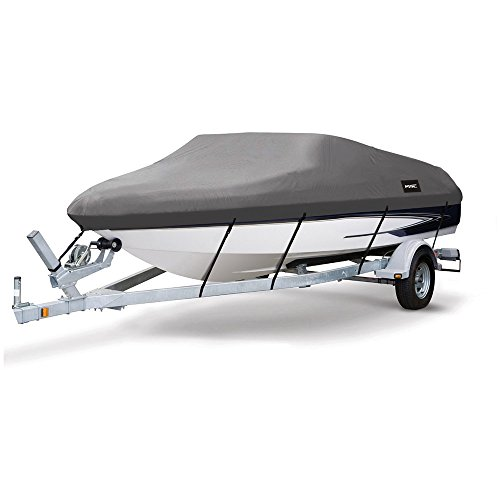 Msc Heavy Duty 600D Marine Grade Polyester Canvas Trailerable Waterproof Boat Cover Fits V Hull Tri Hull  Runabout Boat Cover  Dark Gray  Model D   Length 17 19 Beam Width  Up To 96