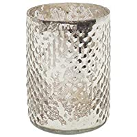 "Serene Spaces Living Set of 4 Antique Silver Hobnail Vase, Measures 3"" in Diameter & 4.25"" Tall"