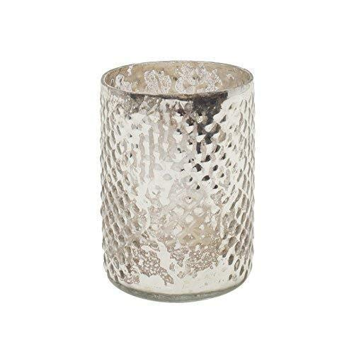 Serene Spaces Living Set of 4 Antique Silver Hobnail Vase, Measures 3