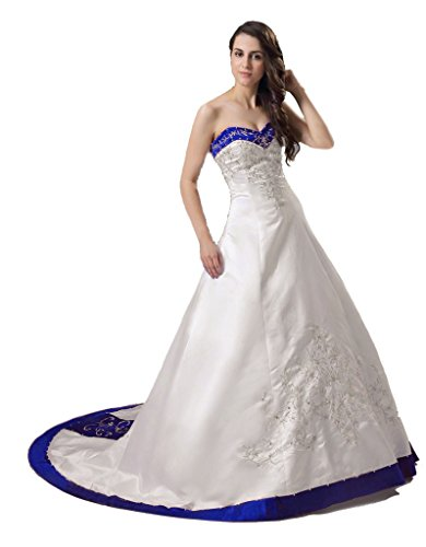 Vantexi Women's Sweetheart Satin A-line Bride Wedding Dress Ivory Blue 4