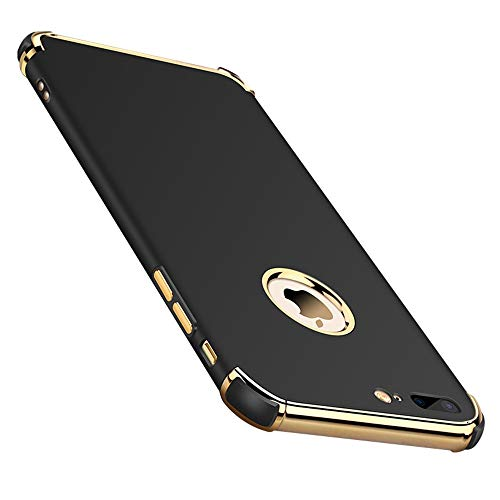 Chengming Compatible with iPhone 7 Plus/iPhone 8 Plus 3 in 1 Anti-Scratch Anti-Fingerprint Shockproof Electroplate Frame Strong Magnetic Adsorption with Non Slip Coated Case(5.5 inch)(Black)