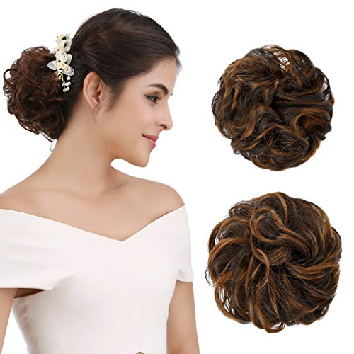 REECHO Women's Thick 2PCS Curly Wavy Updo Hair Bun Extensions Messy Hairpieces - Dark Brown with Strawberry Blonde Highlights
