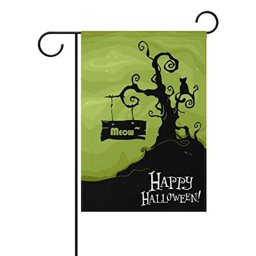 ALAZA Double Sided Happy Halloween Cat Meow Starry Sky Night Polyester Garden Flag Banner 12 x 18 Inch for Outdoor Home Garden Flower Pot Decor]()