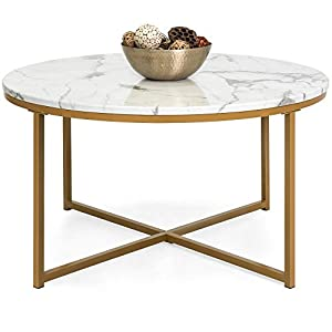 Best Choice Products 35in Modern Living Room Round Accent Side Coffee Table w/Metal Frame, Faux Marble Top - White/Gold