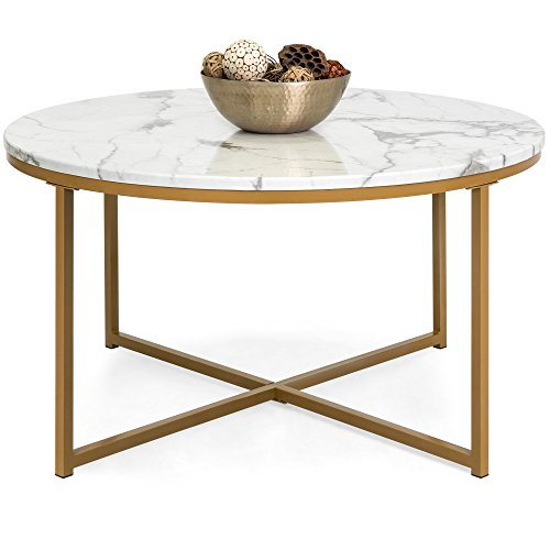 Best Choice Products 35in Faux Marble Modern Living Room Round Accent Side Coffee Table with Metal Frame, White/Gold