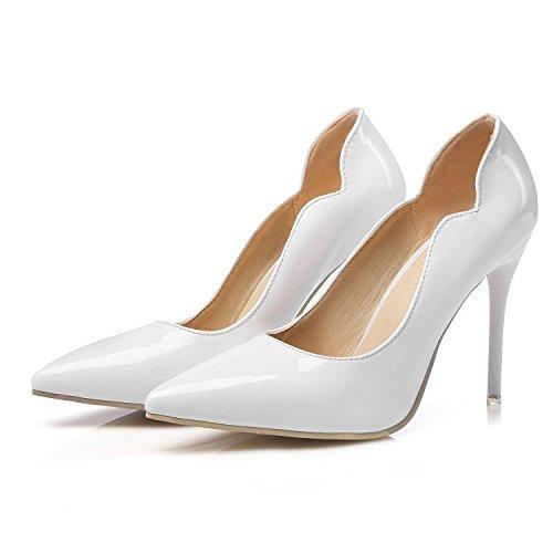 CSDM Donne Scarpe da sposa Stiletto Heel Patent Leather Punta punta Pattinaggio Bocca Shallow Big Size Albicocca Giallo Bianco Rosso , white , 46 custom 2-4 days do not return