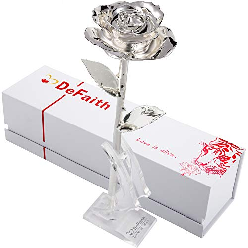 DEFAITH Silver Dipped Real Rose, Best Gifts for Her 25th Anniversary Valentine's Day Christmas Mother's Day - Sterling Silver Rose with Stand
