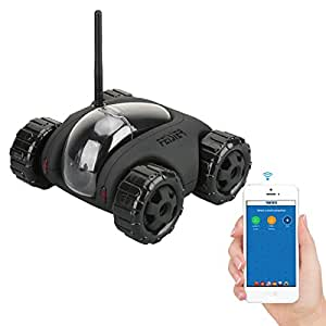 FEISIER CLOUD ROVER IV Cloud Companion RC Car Wi-Fi P2P Remote Control 1.3MP 720P HD Baby Monitor SPY Tank Car APP Control Movement Motion IP Camera Home Remote Camera with Charging Dock (Black)
