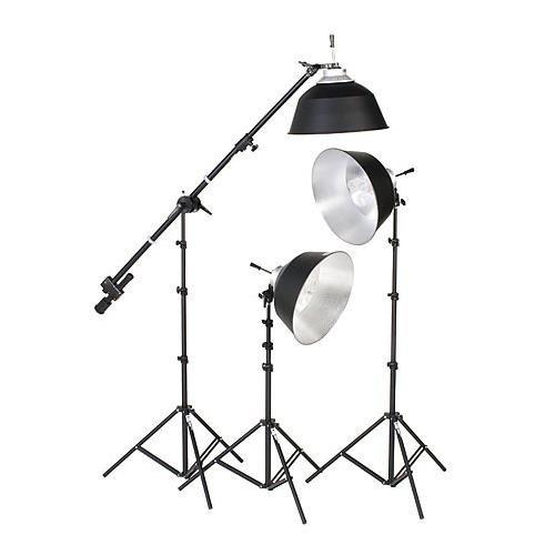 スミスVictor kfl-33、3つライト蛍光灯キット(234合計ワット、3 fl3 Digilight器具with蛍光灯電球、ライトスタンド& Mini Boom – 120 V AC   B000ONVAY8
