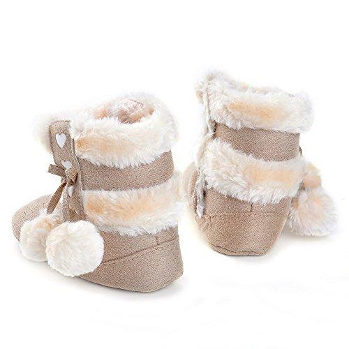 Botas de bebé de invierno, diseño de peluche con lazo rosa claro Talla:6-12 meses gris