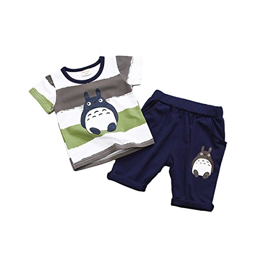 ACEFAST INC Baby Boys Cartoon Totoro Printed Pure Cotton 2PCS Set T-Shirt and Shorts Outfits