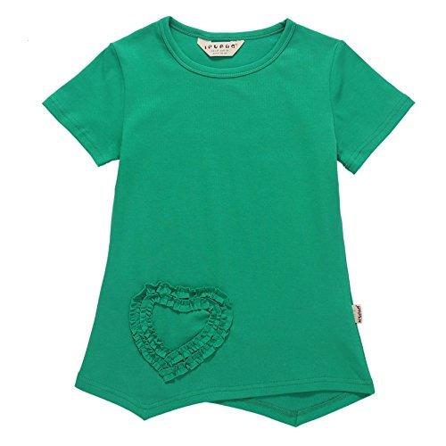 Heart Kids T-shirt - Ipuang Big Girls Heart Shaped Casual Cotton Cap Sleeve Tee T Shirt Top Green 7
