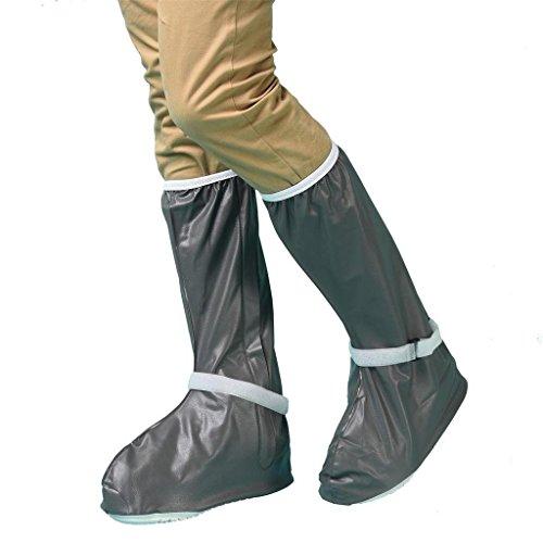Whose Lemon Reusable Women Men Waterproof Shoes Cover Rain Snow Thicken Sole Shoes Covers High Boots Overshoes (Deep Grey XXXL)