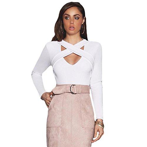Longwu Women's Long Sleeve V Neckline Shirt Cross Chest Slim Sexy Club Top Tee