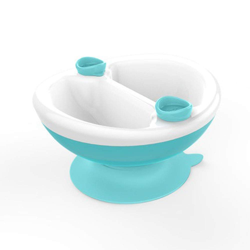Kidsmile Toddler Divided Warming Feeding Bowls Silicone Suction Dishes with Baby, Mint Green