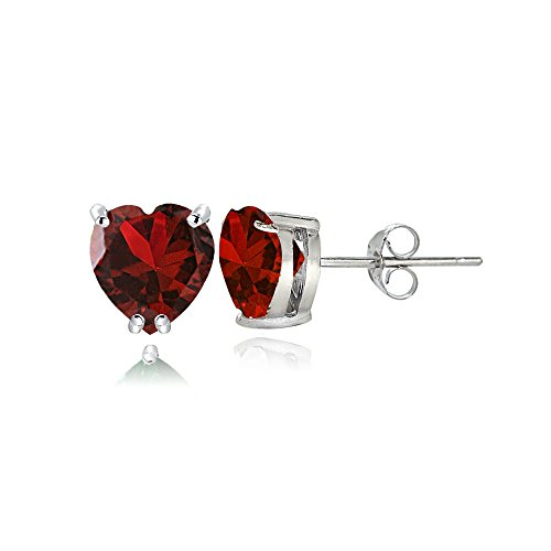 (Sterling Silver Created Ruby 5mm Heart Stud Earrings )