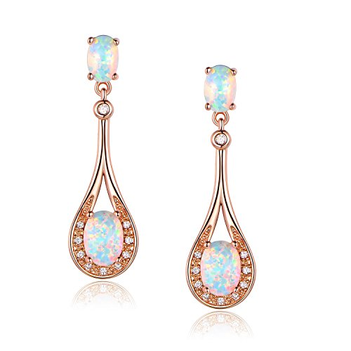 White Opal Drop Dangle Earrings Ladies 18K Rose Gold Plated Earring Oval 5x7mm for Women Hypoallergenic Jewelry