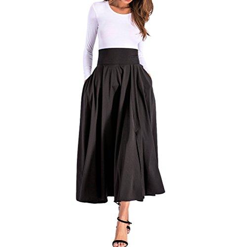 Maxi fente BFUSTYLE Swing longueur les Femmes taille ceinture pleine haute saisons Black avant jupe Pliss Toutes xwFg4xqPO