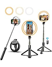 """6.6"""" Selfie Ring Light with Tripod Stand and Phone Holder, Selfie Stick Tripod with Light, Portable 3 in 1 Wireless Bluetooth Tripod Dimmable LED Makeup Ringlight for Tiktok YouTube Video Live Stream"""