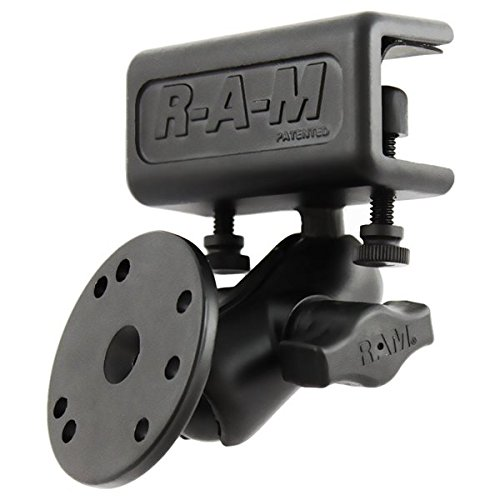 RAM MOUNTS (RAM-B-177-202U Glare Shield Clamp Mount with Short Double Socket Arm and Round Base Adapter That Contains The Amps Hole Pattern