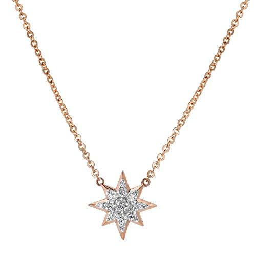 Olivia Paris 14k Rose Gold Diamond Star Pendant (0.20 cttw, H-I Color, I1 Clarity) 18