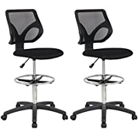 Cool Living Mesh Armless Fixed Upright Adjustable Height Drafting Chair (2 Pack)
