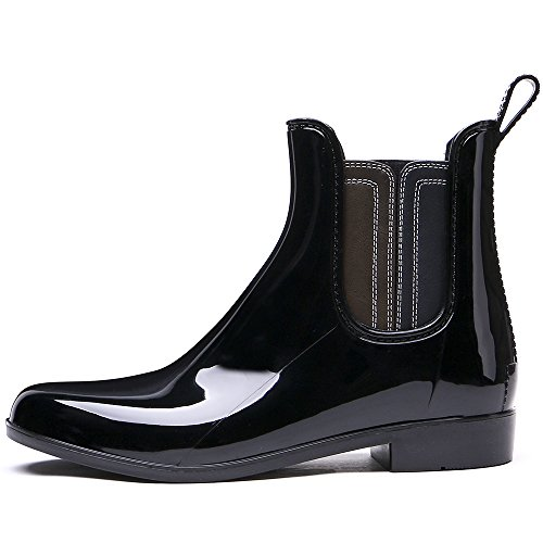 TONGPU Women's Fashion Waterproof Patchwork Short Ankle Rain Boots Black-2 O0FBrpT