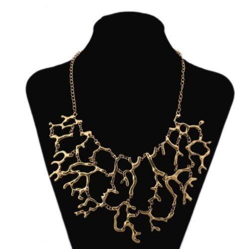 FidgetKute Punk Style Coral Reef Branch Statement Collar Necklace Fashion Women's Jewelry Antique Gold