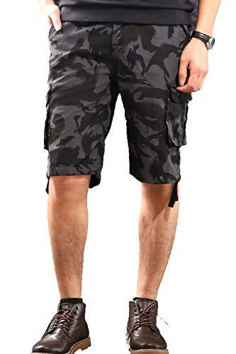 CANASOUR Men Khaki Camouflage Multi Pockets Jogger Capri Cargo Shorts (US Size 32, Black ()