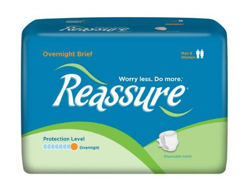 Reassure Overnight Briefs Maximum-Absorbency, Large, 144/Case