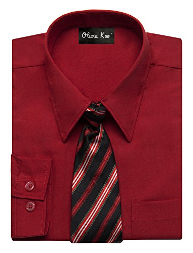 OLIVIA KOO Boys Solid Color Dress Shirt with Matching Tie Set,Red,14
