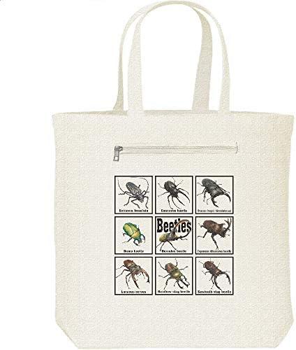 エムワイディエス(MYDS) 甲虫類(カブトムシの仲間たち)/キャンバス トートバッグ・ファスナー ポケット付