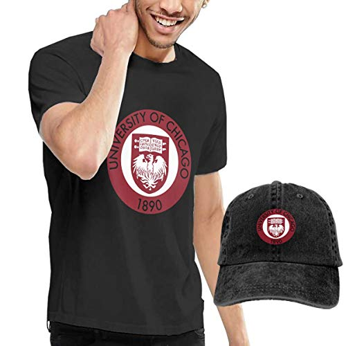 QTHOO University of Chicago 1890 Logo Men's Short Sleeve T Shirt and Adjustable Sport Outdoor Cotton Denim Hat