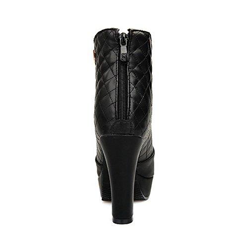 Allhqfashion Women's PU Low-top Solid Zipper High Heels Boots Black nl76oMlg