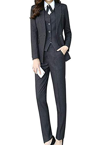 Women's Three Pieces Office Lady Stripe Blazer Business Suit Set Women Suits Work Skirt/Pant,Vest Jacket Black ()