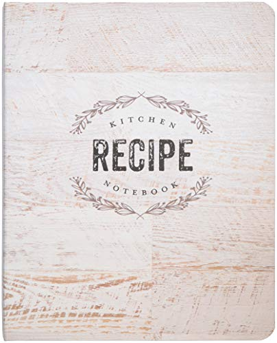 C.R. Gibson Wood Panel Rustic Spiral Recipe Journal, 100 Pages, 7.25