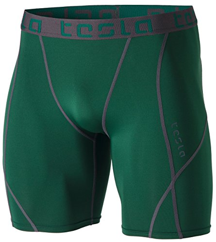 TSLA Men's Compression Shorts Baselayer Cool Dry Sports Tights, Athletic(mus17) - Green, Large
