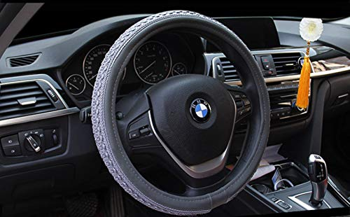 ZJWZ Embroidered Ice Silk Leather Steering Wheel Cover Anti-Skid Car Handle Car Interior Products38cm,Gray