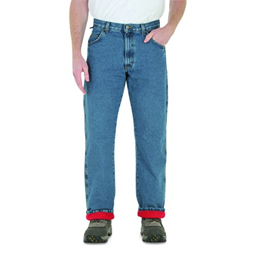 Wrangler Rugged Wear Men's Woodland Thermal Jean,Stonewashed Denim,42x30 ()