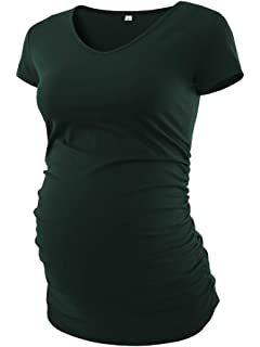 c5c53d1306620 BBHoping Women's V Neck T Shirt Classic Side Ruched Pregnancy Maternity T-Shirt  Tops