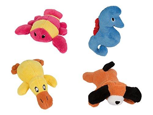 Betz 4er Set Badetiere Badespielzeug aus Plüsch: Hund, Ente, Hummer und Seepferdchen