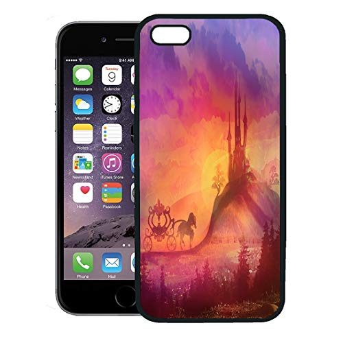 Semtomn Phone Case for iPhone 8 Plus case,Pink Princess Carriage at Sunset Silhouette of Horse and Medieval Castle Unicorn iPhone 7 Plus case Cover,Black