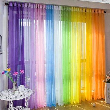 140X245Cm Pure Color Sheer Curtain Balcony Bedroom Terylene Bay Window Curtain^.