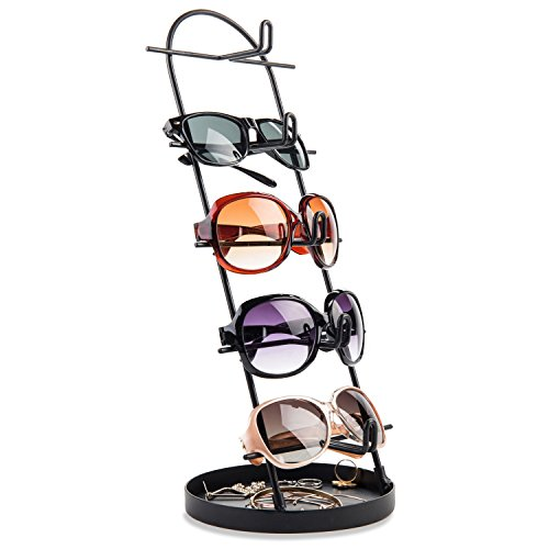 MyGift Modern Black Metal 5-Tier Sunglasses Display Stand with Jewelry Tray, Retail Eyewear Holder