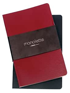 Grandluxe Red and Black Monolette Lined and Perforated Blank Notebooks Compact Set, Set of 2, 3.5 x 5.5 Inches